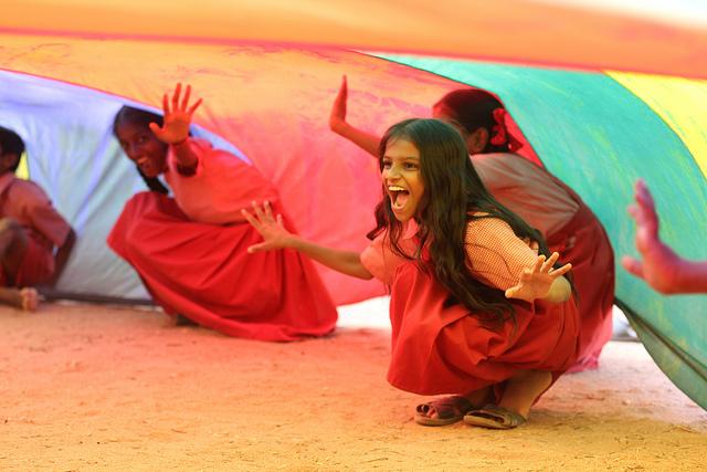 Indian Girl Parachute Play